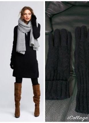 Фирменные, базовые кожаные перчатки с вязаным верхом, замш суп...