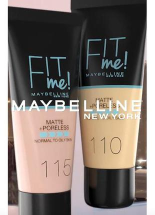 Тональный крем maybelline new york fit me matte + poreless