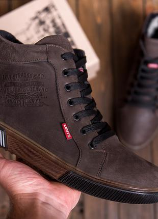 Мужские  зимние кожаные кроссовки  Levis Chocolate Classic