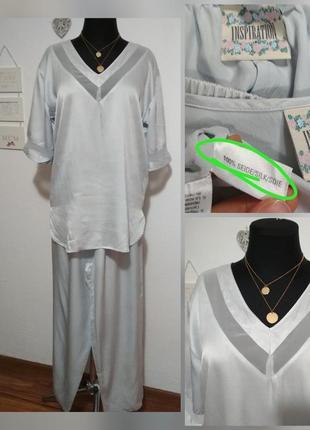 Фирменный шелковый костюм в пижамном стиле, 100% натуральный ш...