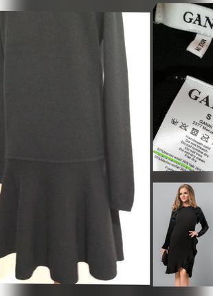 Фирменное теплое шерстяное платье миди с стильной рюшей, 80% ш...