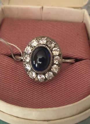 Кольцо советское серебро 925 пробы ссср сапфир