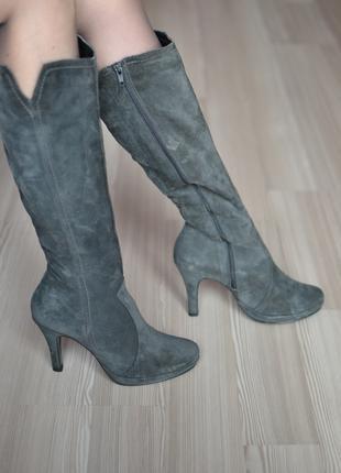 Модные кажаные женские сапожки замша -36-37р