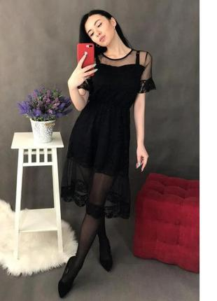 Платье женское сетка+кружево