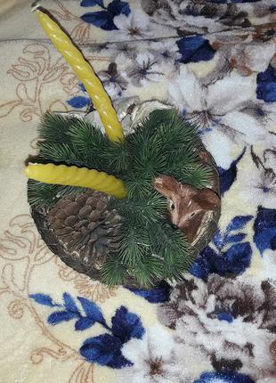 Новогодний декор подсвечник Олень в елочках