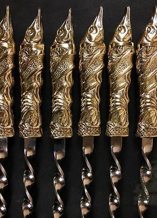 """Подарочный набор шампуров ручной работы """"Щуки"""". Подарок рыбаку"""