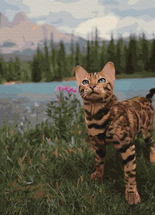 """Картина по номерам """"бенгальская кошка у гор """" 40*50см gx34172"""