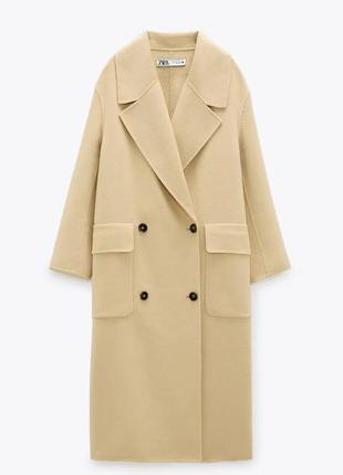 Пальто zara из смесевой шерстяной ткани (лимитированная коллек...