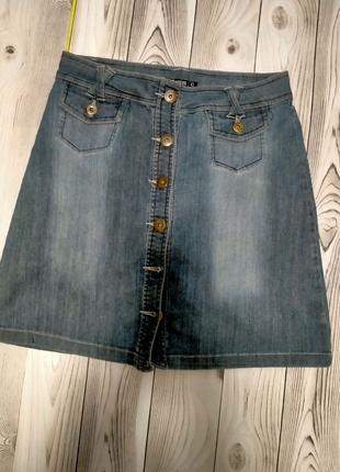 Юбка с пуговицами джинсовая