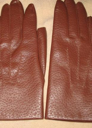 Коричневі рукавиці еко шкіра