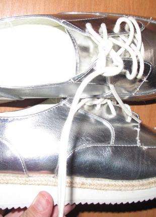 Срібні туфлі еко шкіра castaluna р40 нові
