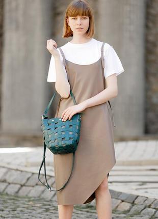 Кожаная плетеная женская сумка пазл m зеленая krast