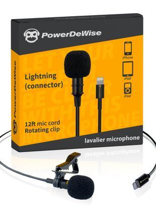 Петличный микрофон PowerDeWise с Lightning коннектором для iPhone