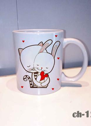 Чашка зая. Влюбленным. С днем валентина.
