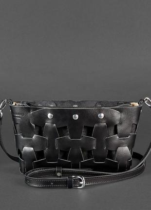 Кожаная плетеная женская сумка пазл s угольно-черная