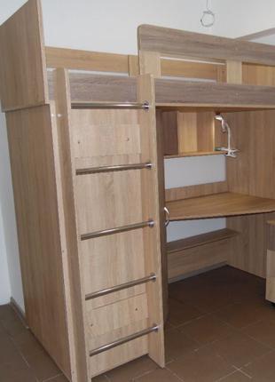 Кровать ЧЕРДАК + письменный стол+Шкаф+тумбочка - В НАЛИЧИИ