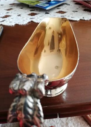 Сливочник металлический массивный Англия внутри покрыт золотом