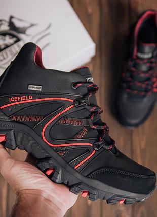 Мужские зимние кожаные кроссовки IceField Gore-Tex Black