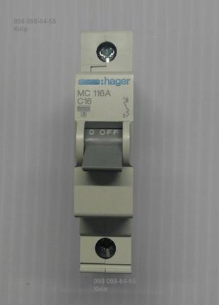 Автоматический выключатель 16А тип C, 6kA Hager MC116A