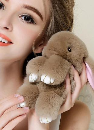 Милый меховый брелок зайка (кролик), 5 цветов, 14 см, новые
