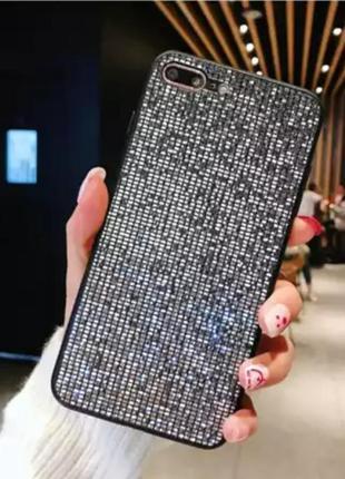 Чехол силиконовый на iphone 6, 6 s чёрный блестящий