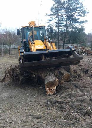 Корчевание пней деревьев