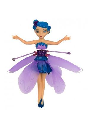 Голубая Летающая кукла Фея Flying Fairy с крыльями USB.