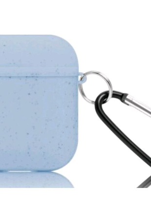 Чехол DEF для Apple AirPods ECO Blue с карабином натуральный