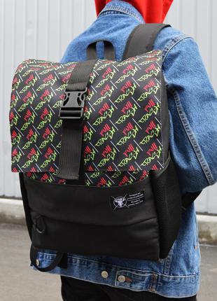 Рюкзак пилигрим черный фулл краш зеленый