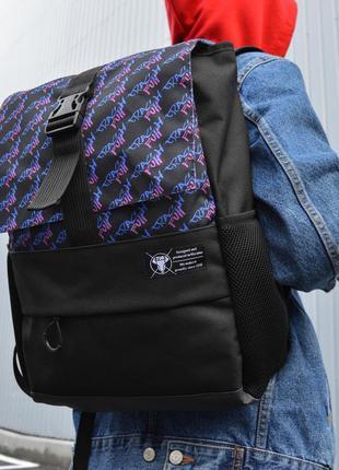 Рюкзак пилигрим черный фулл краш синий
