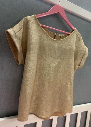 Блуза золотая блестящая river island оверсайз короткий рукав