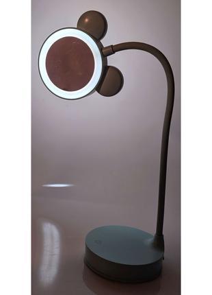 Зеркало настольное с LED подсветкой на аккумуляторе синее