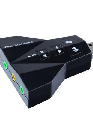 Внешняя USB 7.1 звуковая карта USB Sound Adapter 3D звук