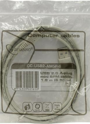 Новый, в упаковке кабель Gembird USB 2.0 cable A plug/mini-USB 5P