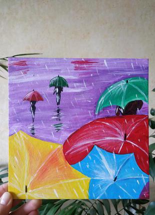 Картина акрилом Зонтики