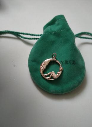 Серебряный кулон подвеска 100% серебро 925 проба луна девушка