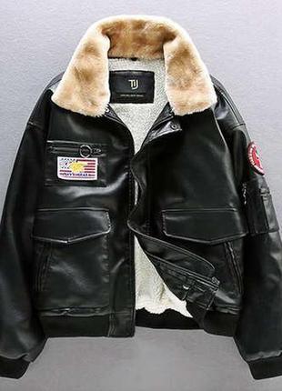 Мужской зимний кожаный бомбер на меху, черная куртка пилот