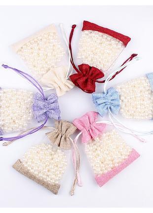 Подарочные мешочки 10*14 комбинированные 5шт/упак.