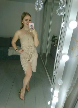 Невероятное сексуальное коктейльное платье нюдового цвета #18max