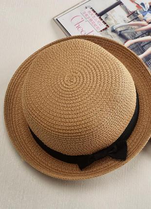 Женская летняя бретонская коричневая шляпа канотье котелок