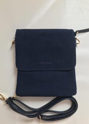 Женская сумка-планшет замшевая темно-синяя
