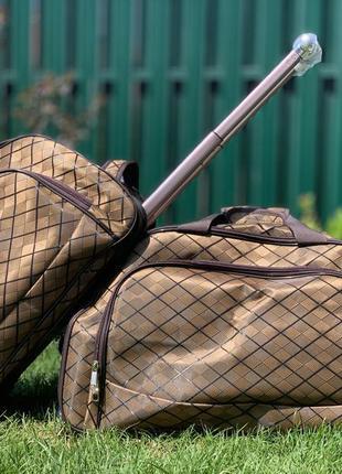Дорожная сумка саквояж коричневая большая и средняя на колесах...