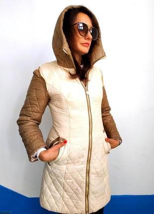 Качественное пальто mockner стеганое с капюшоном новое разм.S