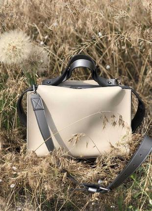 2в1 стильная женская сумка малика + косметичка кремового цвета...