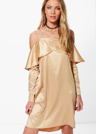 Sale шампанский шик  атласное платье m-l