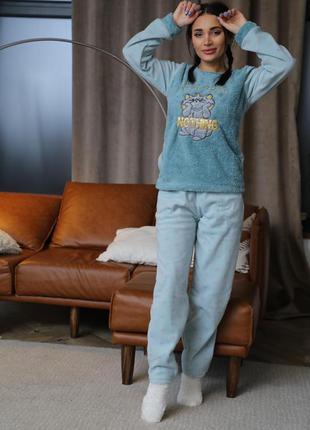 Тёплая плюшевая+флис пижама/домашний костюм кофта и штаны. 42-...