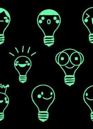 """Люминесцентные наклейки """"Лампы"""" - размер стикера 20*20см"""