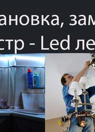 Установить, повесить люстру, бра, Монтаж светодиодной (ЛЕД) ленты