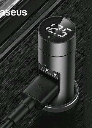 FM - модулятор Baseus Energy Column зарядний пристрій 2 юсб