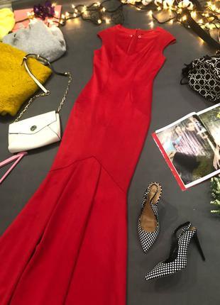 Quiz вечернее шикарное голливудское красное платье в пол русалка